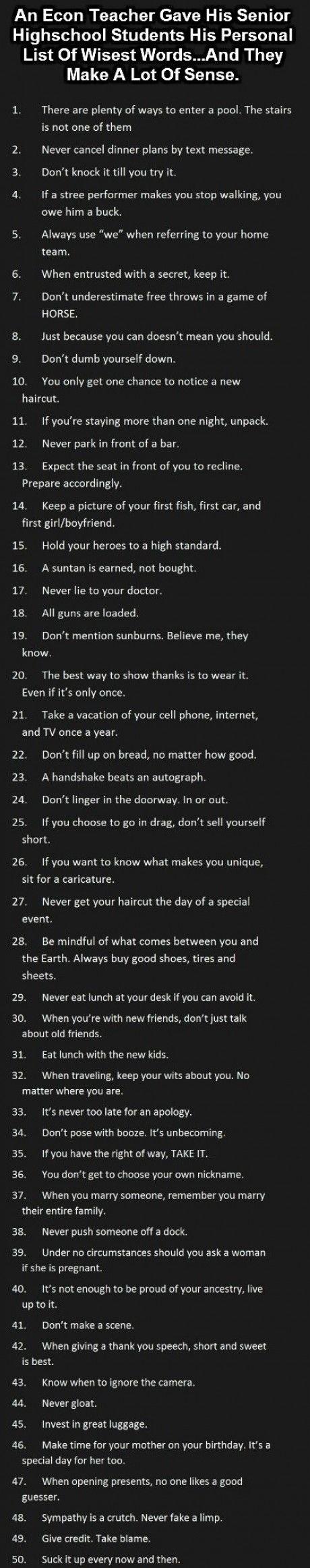 Advice for the boys
